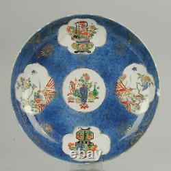 Antique 18C Chinese Porcelain Famille Verte Powder Blue Charger Flowers