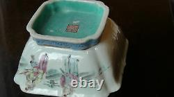 Antique 18c Chinese Famille Rose Porcelain Square Shaped Bowl, Dynasty Mark