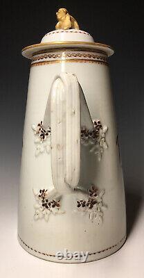 Antique 18th C. Chinese Export Armorial Porcelain Teapot Tea Coffee Pot