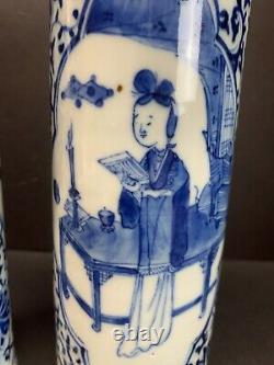 Antique 18th C. Chinese Porcelain Vase Blue White Qing Kangxi Mark 10 Tall Pair