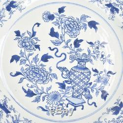 Antique 18th C Kangxi Period 15 Chinese Porcelain Plate Charger Ming Style