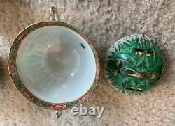 Antique 18th Century Chinese Export Porcelain Butterfly Cabbage Plate Cup Lot
