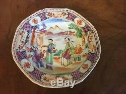 Antique 18th century Chinese Export Porcelain Plate Bowl in Famille Rose Glaze