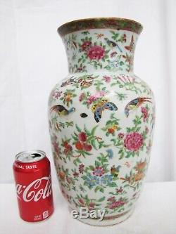 Antique 19 Century Chinese Flowers, Butterfly and Birds Porcelain Vase