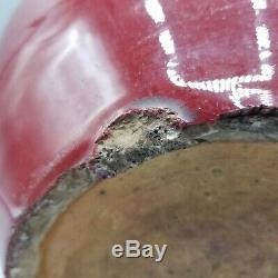 Antique 19th C Chinese Oxblood Sang De Beouf Porcelain Ginger Jar Vase No LID