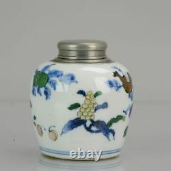Antique 19th C Porcelain Doucai Tea Caddy Marked Fruit Decoration Chinese Chi