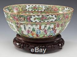 Antique 19th Century Chinese Porcelain Rose Medallion Bowl with Carved Wood Stand