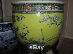 Antique 19thC Chinese Qing Dynasty Porcelain Famille Jaune fish bowl wood stand