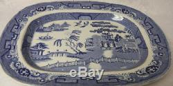 Antique Asian Chinese Village BLUE WILLOW England Ironstone Platter 19th C
