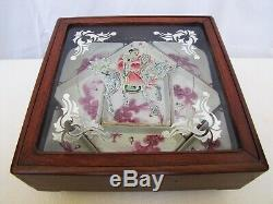 Antique C1830 Chinese New Year Party Candy Porcelain Trays in Wooden Case