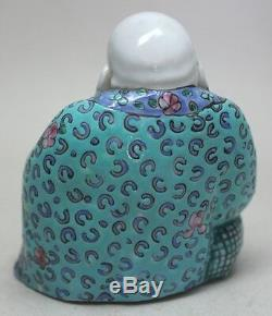 Antique CHINA Chinese PORCELAIN LAUGHING SEATED BUDDHA 4 Statue MARKED