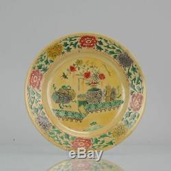 Antique Ca 1700 Chinese Porcelain Kangxi Famille Verte Cafe Au Lait Plat