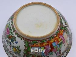 Antique Cantonese Chinese 19thC Porcelain Large Punch Bowl Scenes Famille rose