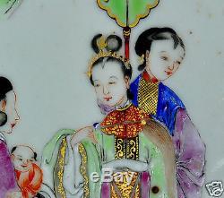 Antique China Chinese Porcelain Famille Rose Tile Painting Qing Queen 19th C #3