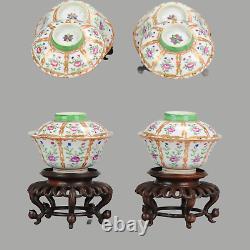 Antique Chinese 19C Porcelain Lidded Bowls SE Asia market Bencharong