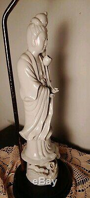 Antique Chinese Blanc De Chine Porcelain Guan Yin Goddess Statue Lamp Marked