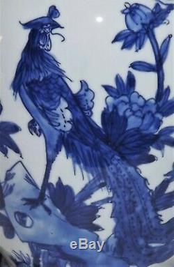 Antique Chinese Blue and White Porcelain Vase Hibiscus Phoenix Bird Qing Kangxi