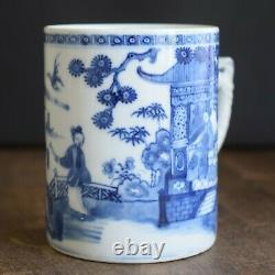 Antique Chinese Export Blue and White Porcelain Tankard / Jug / Cup 18th Century