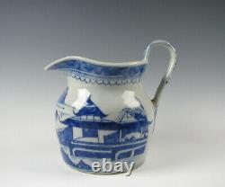 Antique Chinese Export Porcelain Blue and White Canton Pitcher 19th Century