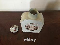 Antique Chinese Export Porcelain Tea Caddy Landscape American Market 18th c
