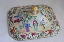 Antique Chinese Export Rose Mandarin Porcelain Tureen, Canton early 19th Century