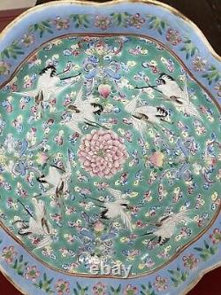 Antique Chinese Famille Rose Crane Porcelain Footed Plate