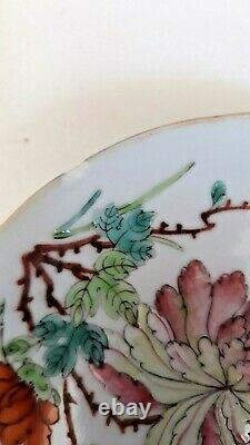 Antique Chinese Famille Rose Plate Qing TONGZHI Mark & Period Phoenix Nonya