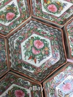 Antique Chinese Famille Rose Sweet Meat Porcelain Set with Flowers Wood Box NR