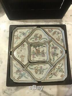 Antique Chinese Famille Rose porcelain Sweet Meat Dishes With Wood Box