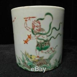 Antique Chinese Famille Verte Hand Painting Figures Porcelain Brush Pot