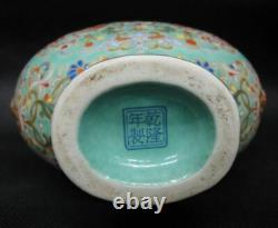 Antique Chinese Green Enamel Painting Porcelain Vase Marked Qianlong