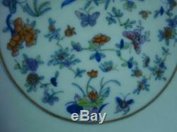 Antique Chinese Hand Painting DouCai Porcelain Plate Marked YongZheng