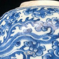 Antique Chinese KANGXI PHOENIX & PEONY JAR blue & white porcelain DOUBLE CIRCLE