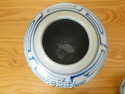 Antique Chinese Kangxi Blue & White Porcelain Double Happiness Ginger Jar