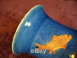Antique Chinese Kangxi powder blue porcelain vase 17.25 good condition