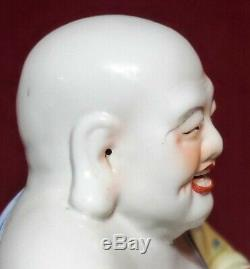 Antique Chinese Large Porcelain Famille Rose Buddha Statue Early 20th C