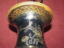 Antique Chinese Mirror Black Porcelain Vase Mounted as Lamp