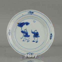 Antique Chinese Plate 17th C Porcelain Ming Tianqi Transitional BOYS LOT