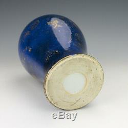 Antique Chinese Porcelain Jingdezhen Gilded Butterflies Blue Glazed Vase