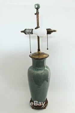 Antique Chinese Porcelain Lamp Celadon Vase