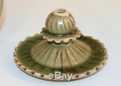 Antique Chinese Porcelain Northern Song Dynasty Celadon 5 Tube Jar & Cover Vase