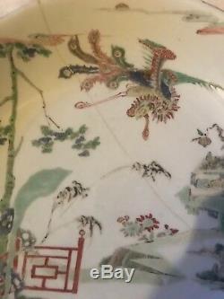 Antique Chinese Porcelain Plate Kangxi Artemisia Leaf Mark Phoenix Decoration