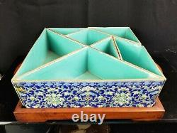 Antique Chinese Porcelain Tangram On Wood Tray