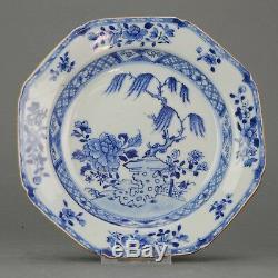 Antique Chinese Qianlong Period Octagonal Landscape Porcelain Plate Dish Qing