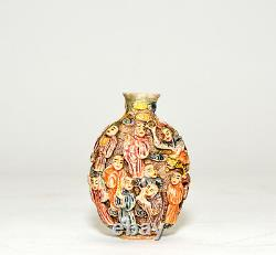 Antique Chinese Qing Famille Rose 18 Immortal Porcelain Snuff Bottle