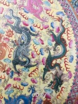 Antique Chinese Qing Qianlong Porcelain Dragon Plate Estate Find