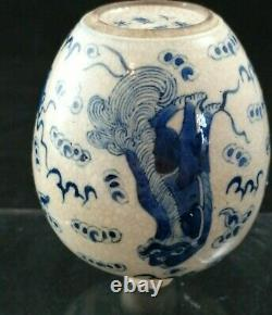 Antique Chinese Qing burnt porcelain jug vase white blue lion Qilin pattern