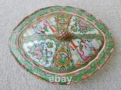 Antique Chinese Rose Medallion Famille Porcelain Tureen Bowl Vase