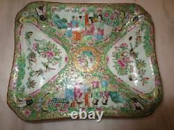 Antique Chinese Rose Medallion Porcelain Square Plate