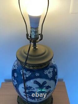 Antique Chinese blue &white Kangxi Period Porcelain Jar as Lamp
